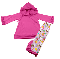 Wholesale children boutique clothing girls hooded clothing set and long sleeve kids outfits
