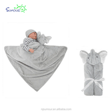 Wholesale custom cheap comfortable cute colored soft square gray elephant minky stuffed animal head plush baby design blanket