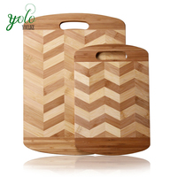 100% Natural 2-tone Bamboo cutting Chopping Board oiled for kitchen
