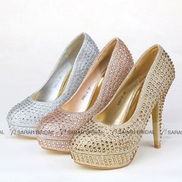 Fashionable Shining Crystal Gold/Silver Wedding shoes Luxury Round Toe Women Pumps Bridal Shoes 2015 sapatos de salto alto SY01