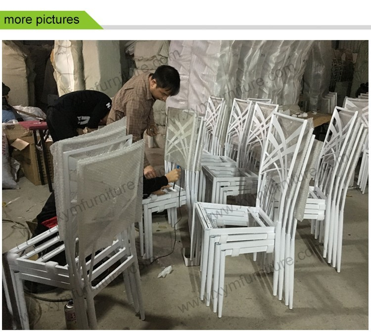 New nice design luxury stacking metal wedding crossback chair for wholesale