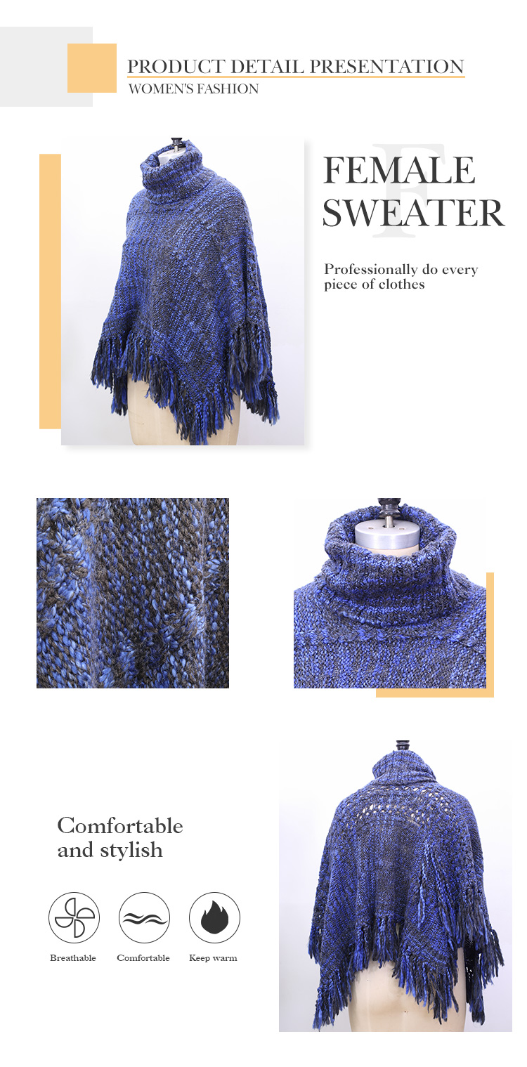 Cashmere Poncho Woolen Wool Poncho Turtleneck Sweater Women Cashmere for Winter