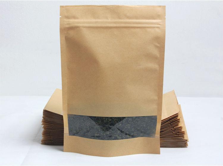 Ziplock Stand Up Kraft Paper Bag Food Packaging Design
