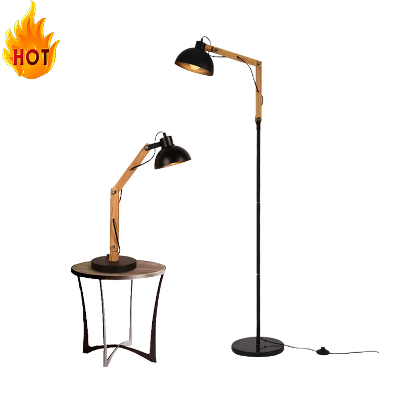 Shenzhen Wholesale Industry Black Iron Art Antique Wooden Fitting Droplight Floor Lamp Standing Lights for Living Room Decor