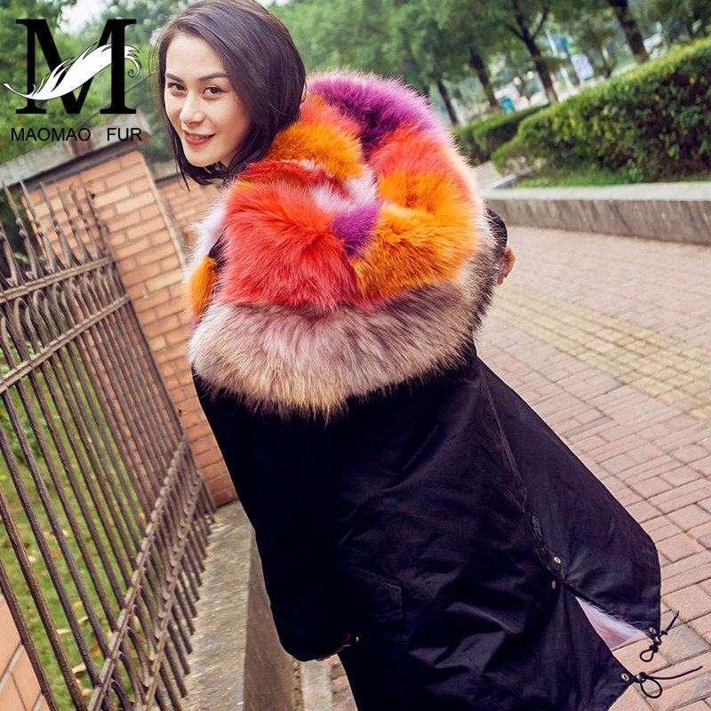2017 Top Level Wholesale Winter Long Parka Coat For Woman / Real Fox Fur Lining Woman Parkas Coat With Fur Hood
