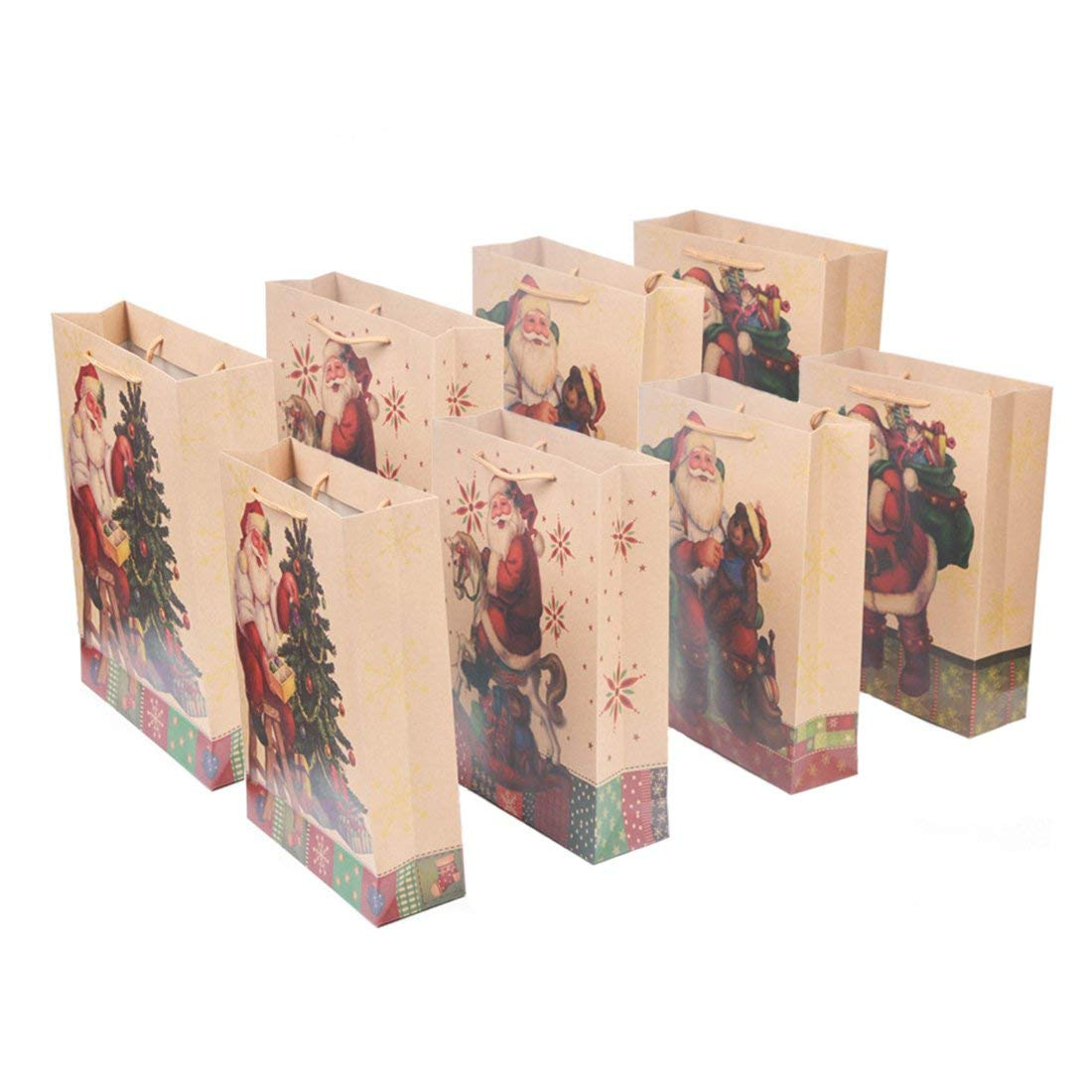 "Onener Set of 8 Medium Merry Christmas Kraft Paper Gift Bags - 4 Different Santa & Christmas Tree Patterns Design Holiday Gift Wrap Festival Gift Set - 13"" x 9.5"" x 3.4""(Pack of 8)"