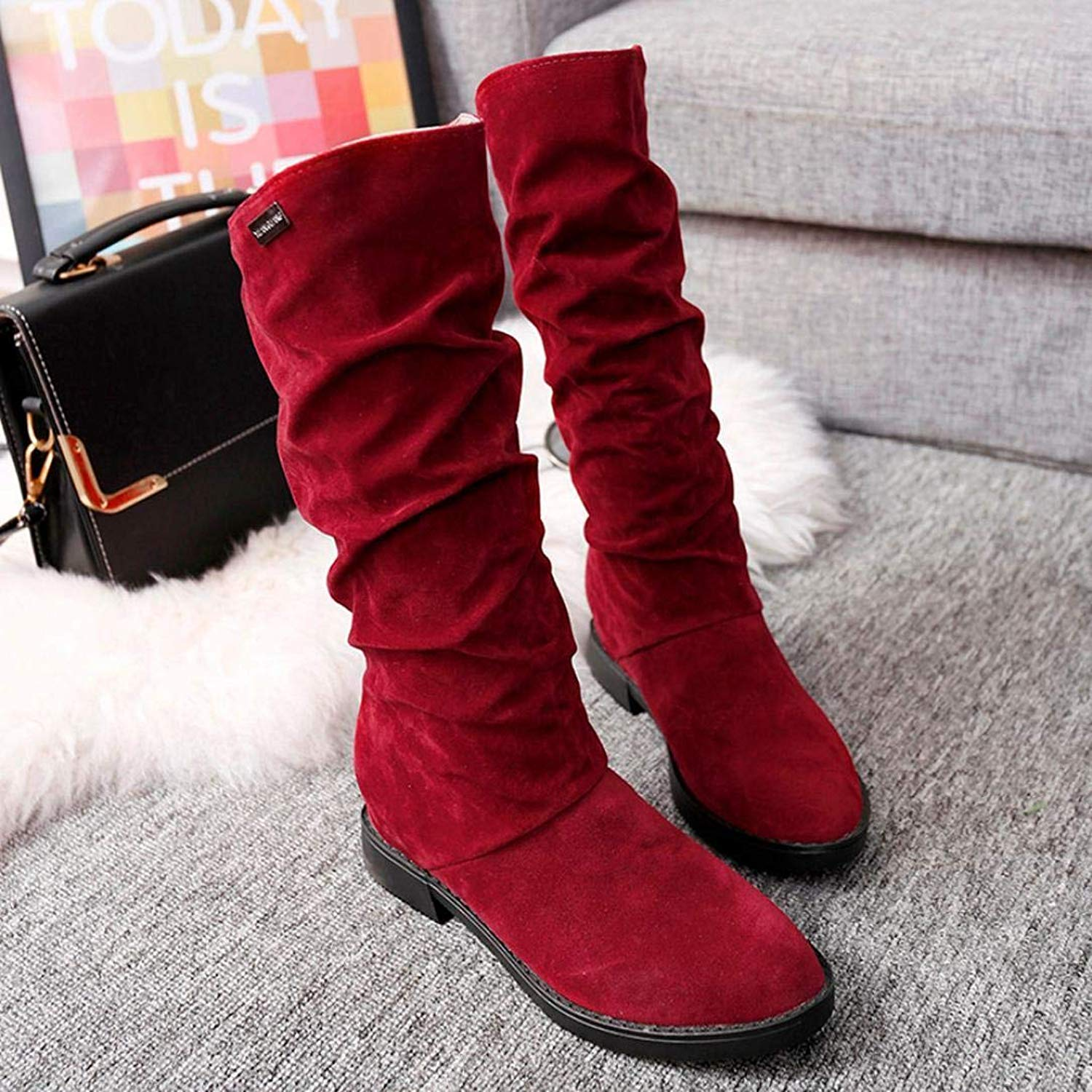 b8761fcb8 Get Quotations · Gyoume Winter Boots Women Flat Wedges Boot Shoes Mid-Calf Boot  Shoes Ladies Sweet Boot