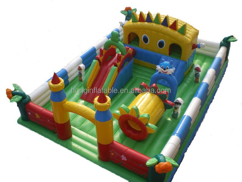 QH-C-7-pvc tarpaulin kids inflatable amusement park for obstacle slide tunnel_bouncer