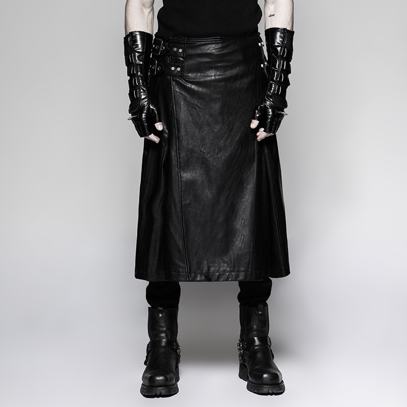 Q-324 Hottest stage performance scottish men's long leather skirts
