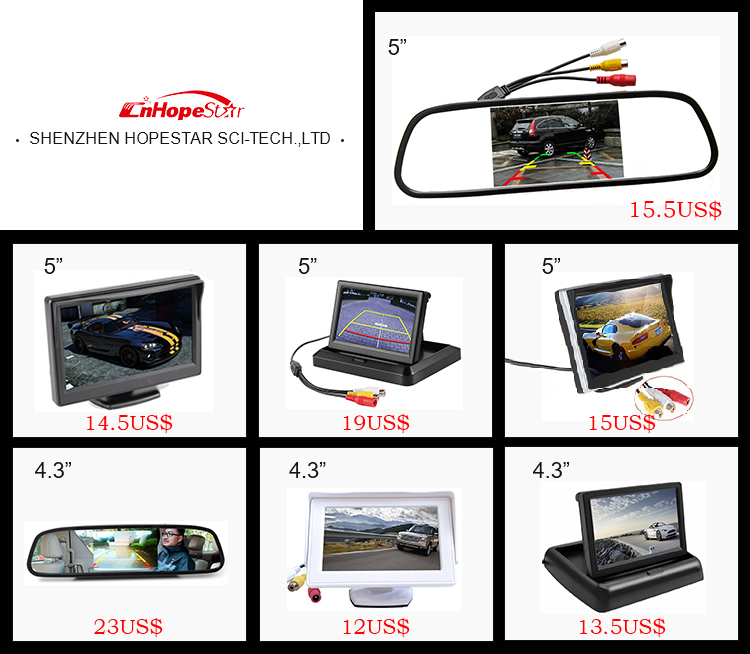 3.5 inch auto-dimming rearview mirror monitor, bluetooth car kit car mirror