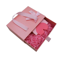 Custom logo pink color drawer packaging gift box with pink ribbon silk scarf cardboard paper box for cosmetic and gift