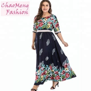 3091# Chiffon new style one piece floral print maxi beach long sleeve jersey muslim dress plus size women clothing