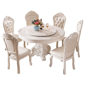 European style solid wood round white dining table luxury dinning table set 6 chairs with rotating centre marble top