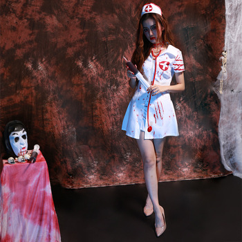Women Horror Zombie Head Nurse Blooded White Halloween cosplay costume