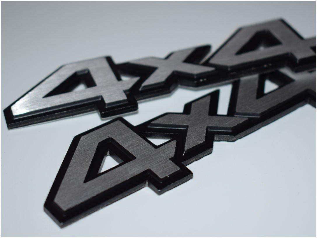 4X4 Silver Hq Aluminium Metal Brushed Alloy Chrome Badge Emblem Logo Fender Chromed 3D Car Auto Swap Trunk Hood Side Adhesive Replacement Decal Sticker Truck Jeep Van Sports Diy 2 Piece SKU#5283-BX975