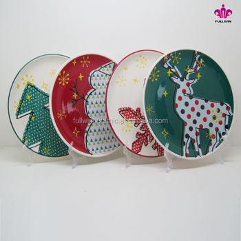 Christmas Platter Plates.10 5 Inch Round Shaped Various Pattern Ceramic Serving Platter Ceramic Christmas Plate With Decal Printing Handpainted Buy Ceramic Serving