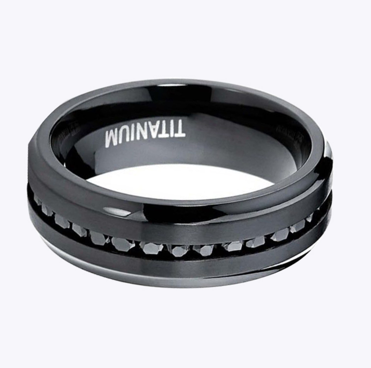 Hot Products Black Zircon Inlay Men Accessories Wholesale Fashion Jewelry Tungsten Stell Ring