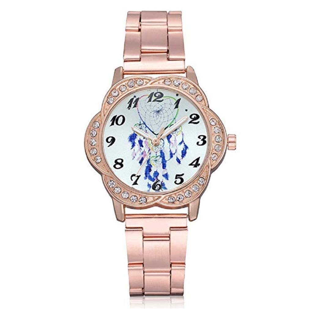 Womens Quartz Watches,Windoson Fashion Ladies Dress Watches Fanmis Luxury Rhinestone Bracelet Quartz Stainless Steel Alloy Watch, Elegant Lady Watches Female Watches (Rose Gold)