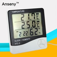 High-accuracy LCD Digital Thermometer Hygrometer Electronic Temperature Humidity Meter Clock Weather Station