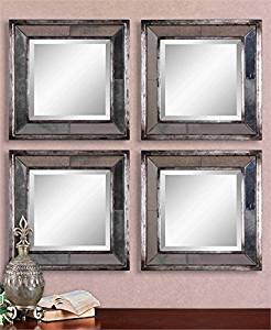 Ambient Distressed, Antiqued Silver Leaf With Black Undertones, Burnished Edges And Antiqued Mirror Accents Antique Silver Mirrors