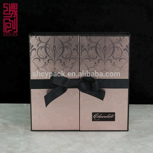 Accept custom gift cardboard two open doors paper perfume packaging box with stamping logo