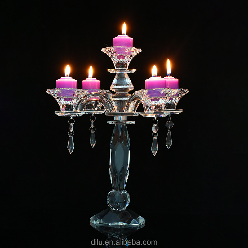 Tall long stem crystal glass candlestick Candelabra Candle Holders for wedding