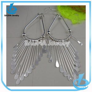 Indian traditional jhumki earring, fashion alloy plain plating silver tassel earring