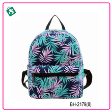 Bamboo leaf print small simple style school backpack bag
