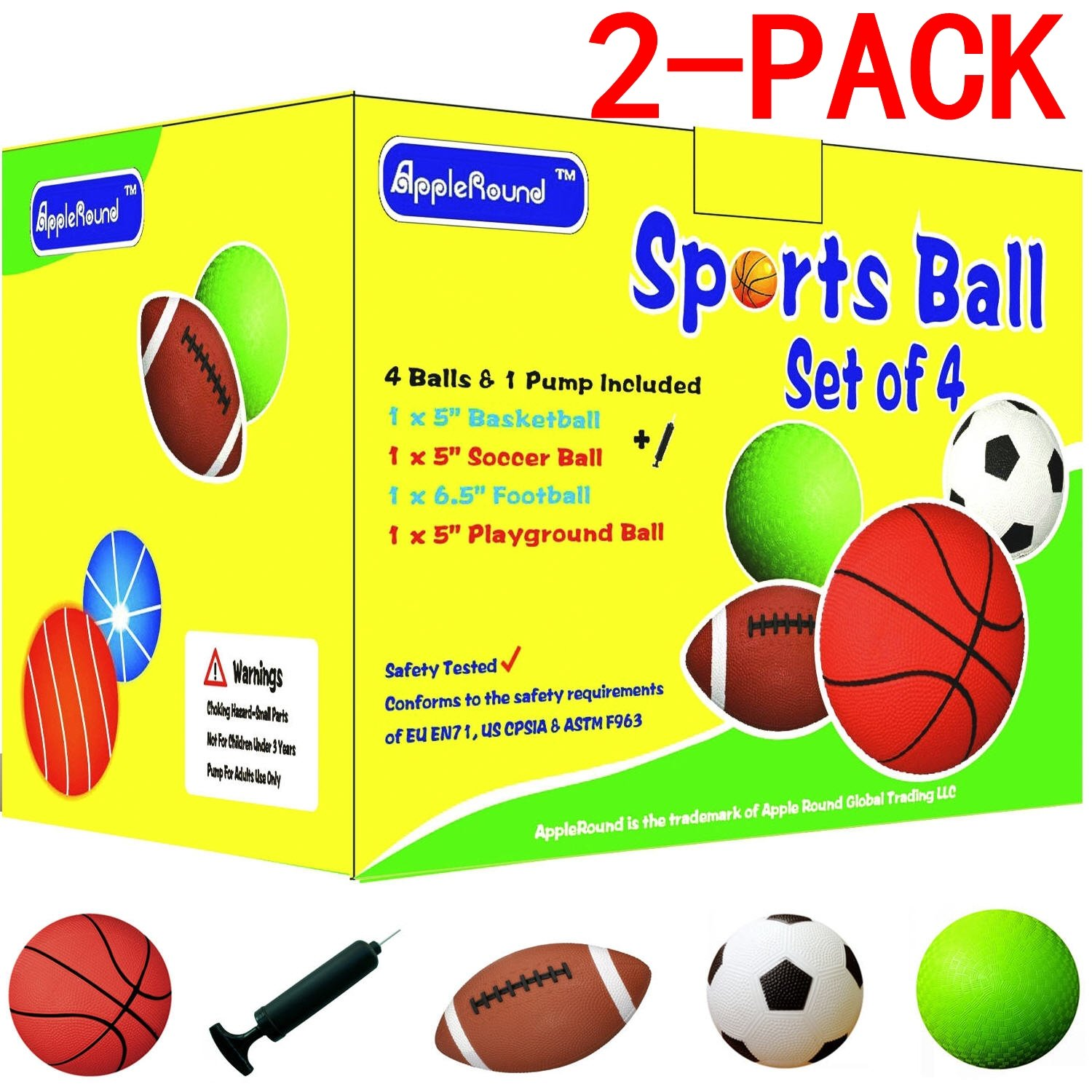 """AppleRound 2-Pack: Each Pack Includes 4 Sports Balls and 1 Pump, 5"""" Soccer Ball, 5"""" Basketball, 5"""" Playground Ball, 6.5"""" Football"""