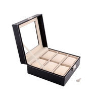 New design elegant black display window luxury watch box, 6 slots PU leather highend watch packaging boxes