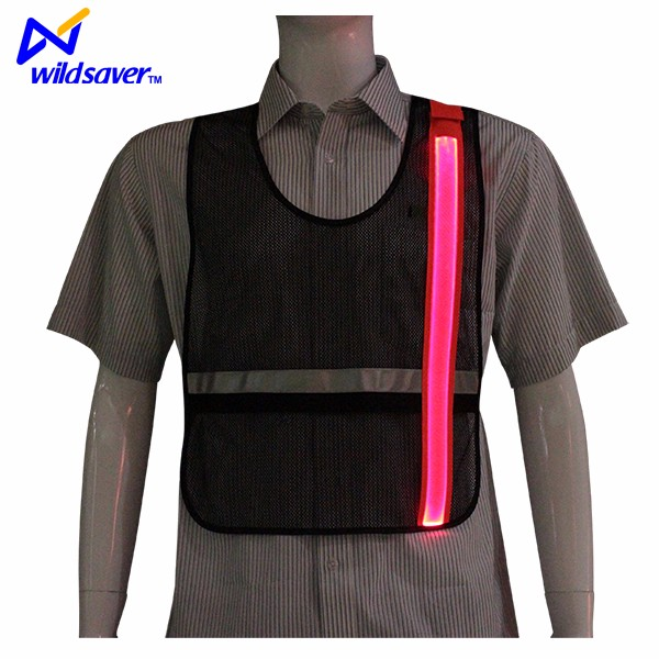Night run mesh breathable reflective safety gear with led lights