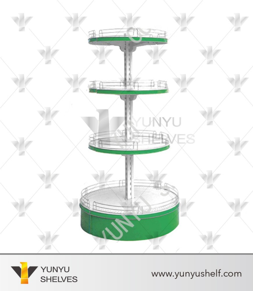 4 layers cold rolled steel cake shape goods shelf for display