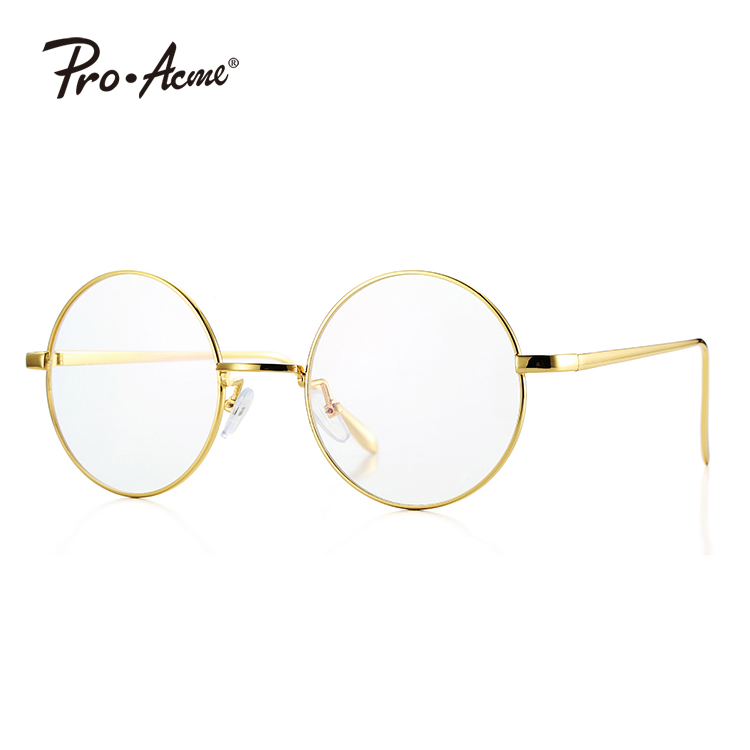 1ac612ce56767 Pro Acme Retro Round Metal Frame Clear Lens Glasses Non-Prescription  PA5866