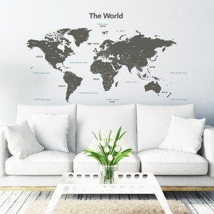 Kids Bedroom Removable Waterproof Wall Stickers Home Decor, Custom Stickers, Kid Decoration World Map Pvc Vinyl Wall Sticker