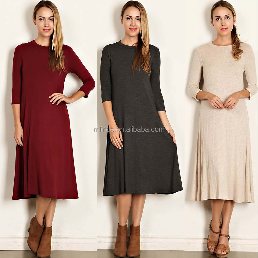 OEM Online Shopping Women Dress 3 4 Sleeves Scoop Neck Solid Knit Jersey Midi  Dress New Fashion Ladies One Piece Dress 089117045f71