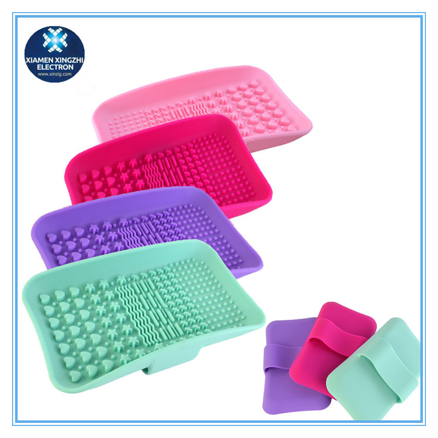 Amazon hot selling new design silicone make up brush cleaner mat/cleaning pad