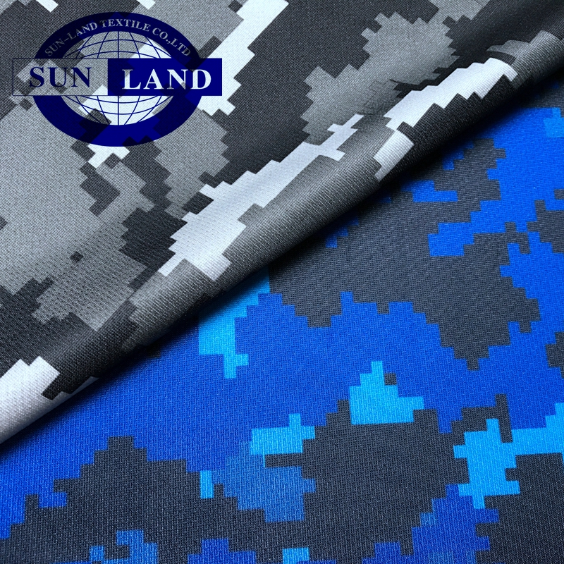 fashion sportswear clothing 100% polyester sublimation camouflage combat fabric printed mesh fabric