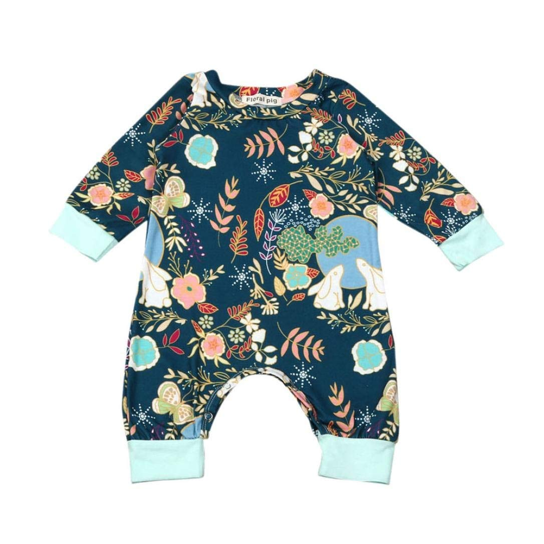 9f7897fdf Get Quotations · iumei Baby Easter Outfits Girls Boys Flower & Bunny Printed  Bodysuit Playsuit Leisure Wear