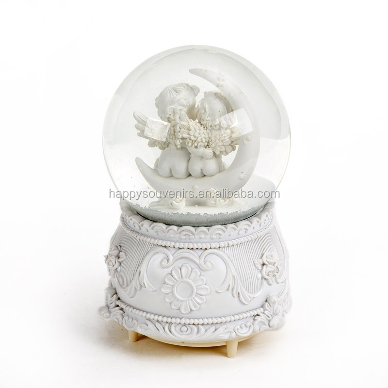 Baptism Souvenirs Music White Angel Wings Resin Snow Globes Baby Angel Figurine Water Globe Rotation Snow Ball