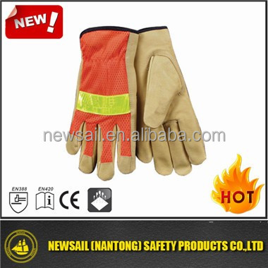 NEWSAIL Food pigskin reflective safety gloves/breathable reflective gloves/gloves to work at night