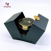 matte black small packaging boxes double door box with glass bottle for candle/honey/Crystal Crafts packaging boxes