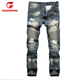 OEM ODM New Fashion Multi Pocket Men Biker Jeans Zipper Side Denim Pants
