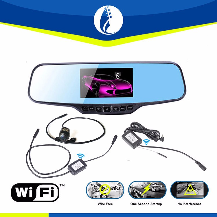wifi AUTO 1080P HD Dual lens Rearview Mirror Dash Cam with Car Recorder and Reverse Parking System, Car Rear View Backup Camera