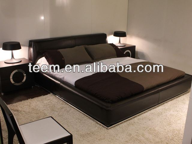 Italy Design Real Leather Beds Indian Rosewood Furniture Bedroom