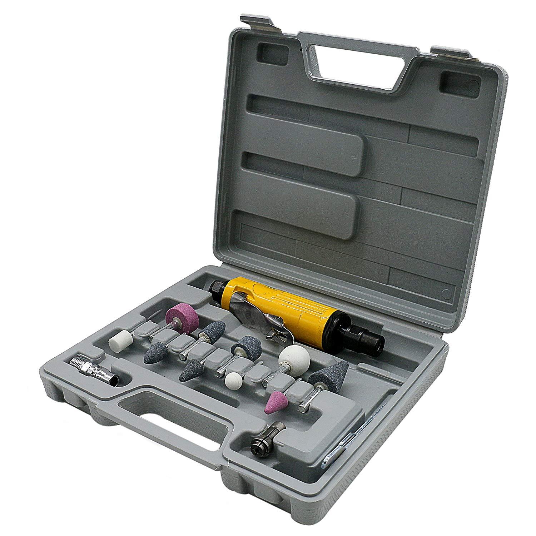 """Autool 15pcs Air Angle Die Grinder Kit 1/4"""" 1/8"""" High Power Air Die Grinder Polisher Kit 20000RPM Tyre Repair Tool Stone Set"""