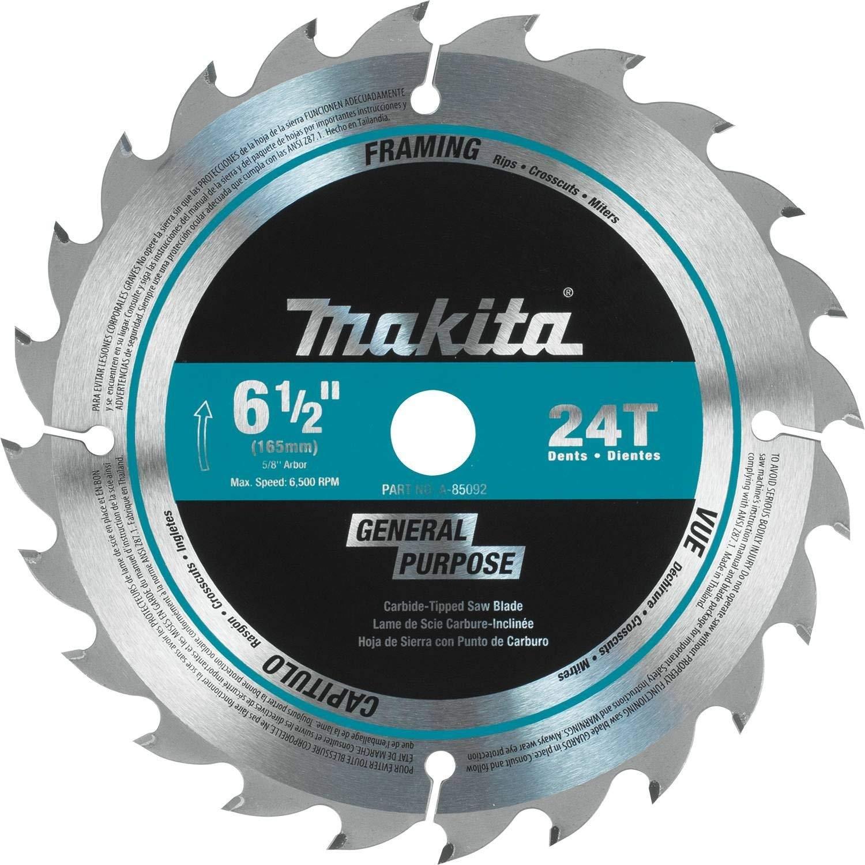 "Makita A-85092 6-1/2"" 24T Carbide-Tipped Circular Saw Blade, General Purpose"