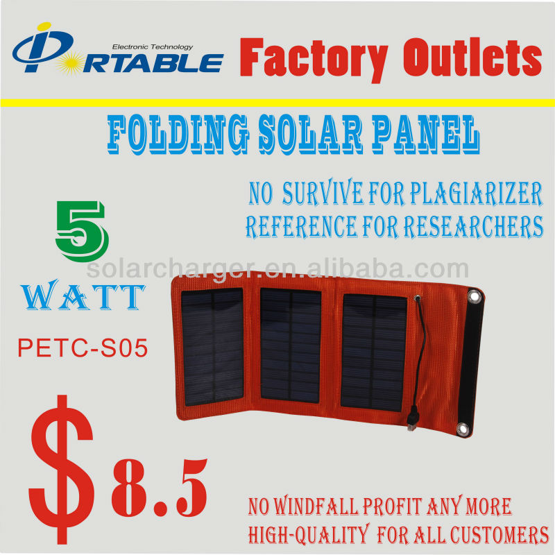 Newest Portable 5W Foldable Solar Charger for phone