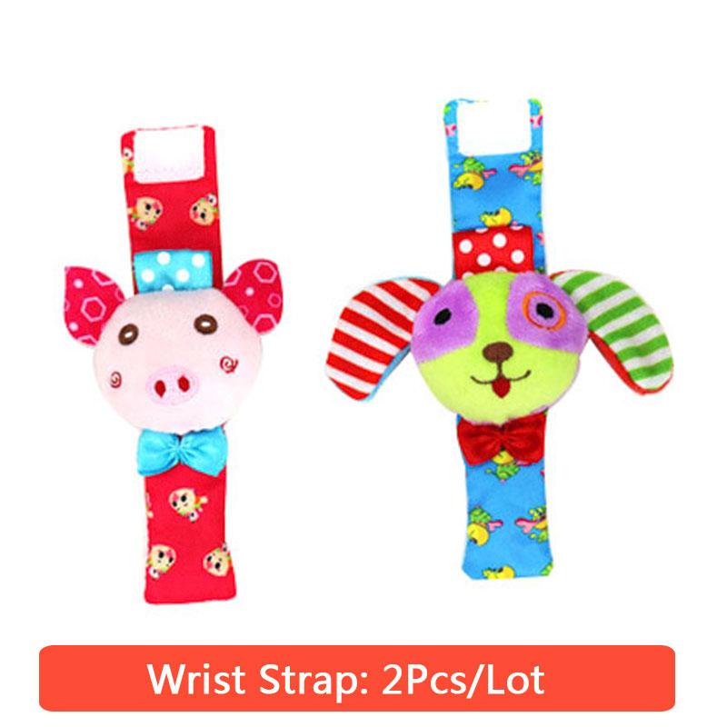 Мягкие носки с милыми мультяшными животными; комплект с ремешком на запястье; погремушка для маленьких мальчиков и девочек; Плюшевые игрушк...(Китай)