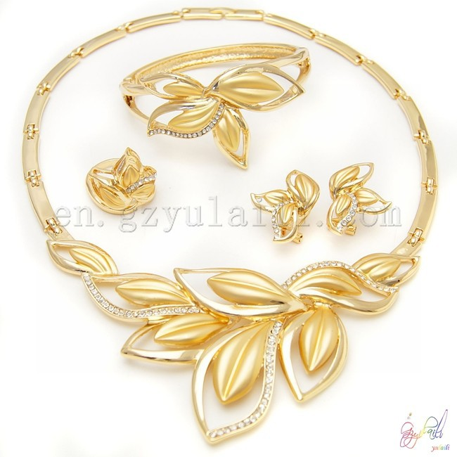 Big Fashion Jewelry Necklaces Gold Plated African Jewelry Sets