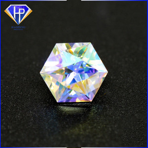 synthetic diamond hexagon shaped cz Multicolor cubic zirconia stone